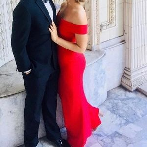 Red long plunge maxi dress, ball/ prom gown